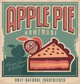 Apple pie vintage poster design concept — Stock Vector