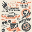 Set of seafood icons, symbols, logos and signs — Stock Vector