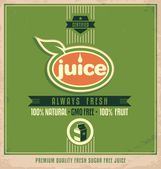Promotional vintage printing material for organic juice — Stock Vector