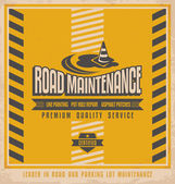 Road construction vintage poster design concept — Stock Vector
