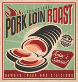 Pork loin roast retro poster design — Stock Vector