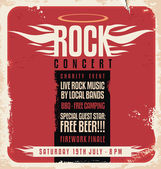 Rock concert retro poster design — Stock Vector
