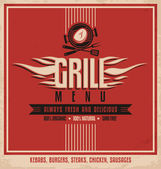 Grill meny retro flyer design — Stockvektor