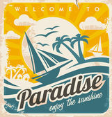 Välkommen till tropiskt paradis vintage affisch design — Stockvektor