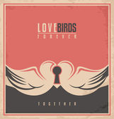 Love birds, unique creative concept — Vecteur