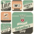 Retro labels for Valentines Day — Stock Vector