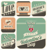 Retro labels for Valentines Day — ストックベクタ