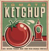 Tomato ketchup retro design concept — Stock Vector