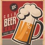 Retro beer vector poster — Stock Vector