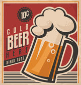 Retro beer vector poster — Stock Vector