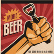 Stock Vector: Beer retro poster design with revolution fist