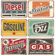 Gas stations and car service vintage tin signs — Stock Vector