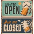Retro tin door signs set for pub or tavern — Stock Vector #39557445