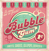 Vintage poster template for bubble gum — Stock Vector