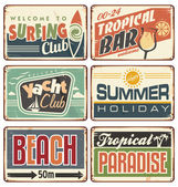 Summer holiday vintage sign boards collection — Stock Vector