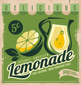 Lemonade, promotional vintage printing material for healthy food product. — Stock Vector