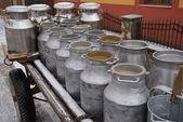 Milk containers in Bucovina, Romania — ストック写真