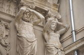 Ornamental statues of Passage Macca- Villacrosse, Bucharest — Stock Photo