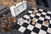 Chess lost game in the park of Sofia, Bulgaria — Stock Photo