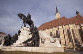 Statue of Matei Corvin, Cluj-Napoca, Transylvania — Stock Photo