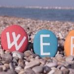 Web, world wide web on colourful stones — Stock Photo #24217307