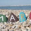 Mary, female name on colourful stones — Lizenzfreies Foto
