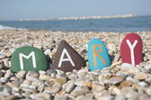 Mary, female name on colourful stones — Photo