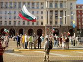 Protests front the government palace, Sofia, Bulgaria — Stock Photo