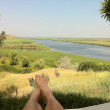Relax front of the Danube Delta, Somova, Romania — Stock Photo