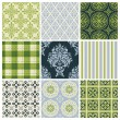 Set of nine colorful seamless patterns for backgrounds and wallpapers — Stock Vector