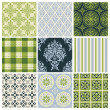 Set of nine colorful seamless patterns for backgrounds and wallpapers — Stock Vector #12814547