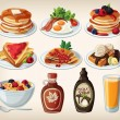 Classic breakfast cartoon set with pancakes, cereal, toasts and waffles — Stock Vector