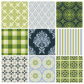 Set of nine colorful seamless patterns for backgrounds and wallpapers — Stockvector