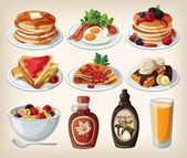 Caricature de petit-déjeuner classique sertie de céréales, toasts, crêpes et gaufres — Vecteur