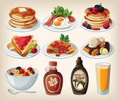 Dibujos animados clásico desayuno con tortitas, cereales, tostadas y waffles — Vector de stock