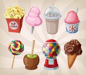 Una colección de dulces y bebidas justos. — Vector de stock