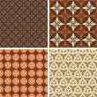 Set of four square seamless patterns for backgrounds and wallpapers  — Stock Vector