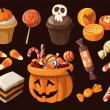 Stock Vector: Set of colorful haloween sweets and candies icons