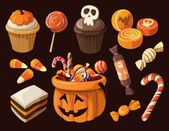 Set di icone di dolci e caramelle colorate haloween — Vettoriale Stock