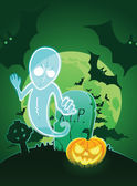 Halloween poster with ghost near grave and jack-o-lantern — Stock Vector