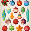 Set of vintage christmas balls. Colorful isolated icons. — Stockvektor  #14182373