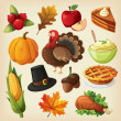 Stok Vektör: Set of colorful cartoon icons for thanksgiving day.