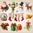 Set of colourful christmas characters and decorations — Stock Vector