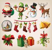 Conjunto de coloridos personajes de navidad y decoraciones — Vector de stock