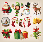 Set of colourful christmas characters and decorations — Vector de stock