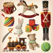 Set of colorful vintage christmas toys — Stockvectorbeeld