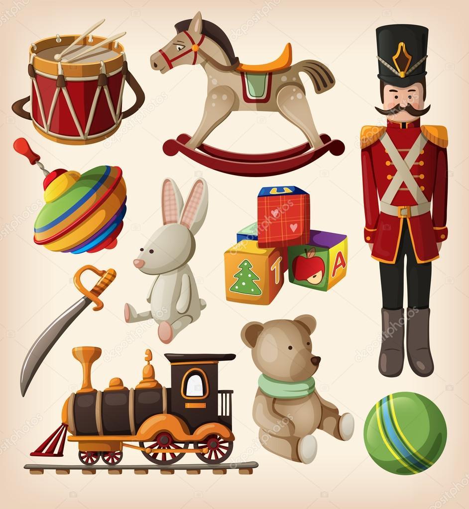Christmas Toys Art : Set of colorful vintage christmas toys — stock vector
