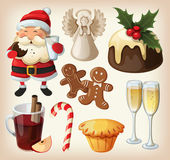 Set of festeve food and decorations for christmas table — ストックベクタ
