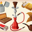 Set of traditional smoking devices - Stock Vector