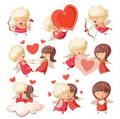 Set of cute boy and girl cupids. — ストックベクタ